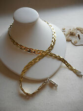 Italian Sterling Silver Gold Filled Braided Necklace  RE3945