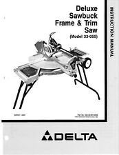 Delta 33-055 Deluxe Sawbuck Frame & Trim Saw Instruction Manual