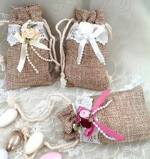 Beautiful Vintage Style Small Jute Bag With Rose Embellishment