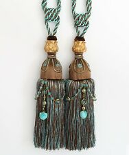 "HEAVY LARGE 13"" Tassel Curtain Tieback Holdback Beaded Turquoise BLUE BROWN GOLD"