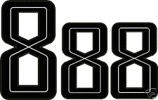 Set of 3 - GUY MARTIN race number 8 - black Stickers / Decals  - 1@150mm 2@115mm
