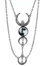 Silver Moon Phases Pendant Necklace Full Crescent Luna Gothic Boho Witch Gypsy