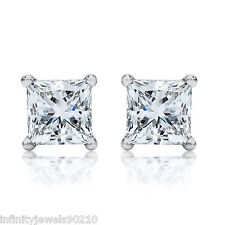 2 Carat Screw backs Princess cut simulated Diamond Stud EARRINGS 14K GOLD