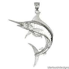New .925 Sterling Silver Marlin Fish Pendant