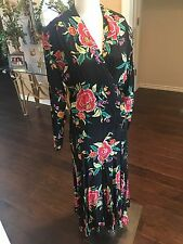 VINTAGE NORMA KAMALI NWT 80s Floral Crossover Bodice Flounced Skirt  Dress 8