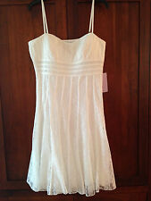 JS COLLECTIONS White Lace Ribbon Dress, SZ 14 NWT $129