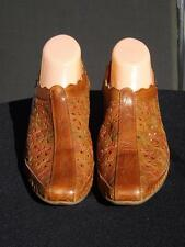 Pikolinos Romana Rust Floral Leather Slingback Clog Shoes Size 41 US 10.5 VGC