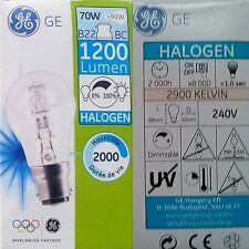 GE 60w 70w 100w B22 Dimmable BC Cap GLS Clear Halogen Light Bulb Lamp Bayonet