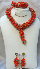 Orange with crystal New Design African Beads Party Wedding Bridal Jewellery Set