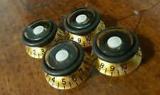 4 Guitar Set Screw Speed Grip Top Hat Knobs... Gold/Black/White...  JAT