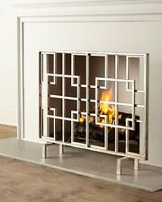 "Geometric Modern Squares Contemporary Fire Screen Fireplace Flat Panel Iron 40""W"