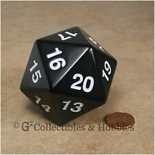 NEW 55mm Black Giant Jumbo Countdown D20 Polyhedral Dice RPG D&D MTG