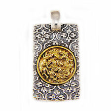 JAPANESE DRAGON CREST KAMON 925 STERLING SILVER BIKER ROCKER PENDANT gb-089