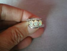Opal & Diamond ring, 0.66 carats, size L/M, in 4.44 grams of 925 Sterling Silver