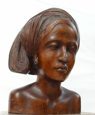 Antique Hand-carved Wooden Bust of a Woman