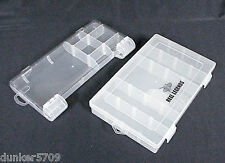 2 PLASTIC STORAGE ORGANIZER BOXES SNAP LID PLASTIC DIVIDERS