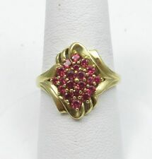 BIG 14K YELLOW GOLD PINK TOURMALINE CLUSTER RING SIZE 8 GENUINE + UNUSUAL