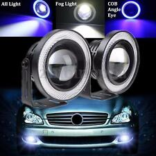2x 3.5'' 35W Projector LED Car Fog DRL Light COB Angel Eye Halo Rings White+Blue