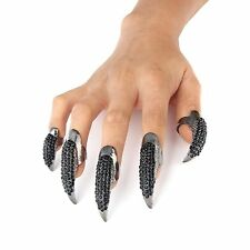 Danibos Punk Style Crystal Rhinestone Paved Paw Bend Fingertip Finger Claw Ring