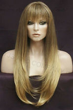 HUMAN HAIR Blend Long Straight Light Brown blonde mix Wig Heat safe WBTO T85