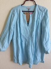 Rose & Thyme Peasant Top Blouse Tunic Shirt Boho Light Blue Green L Large #O1016