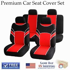 Universal Black and Red Front And Back Full Set Seat Covers - 8 Piece Set