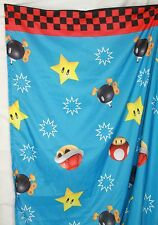Nintendo Twin Sheet Super Mario Bros bomb mushroom Franco Mfg blue fabric