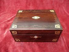 ANTIQUE VICTORIAN ROSEWOOD MOTHER OF PEARL ABALONE & BRASS INLAID JEWELLERY BOX