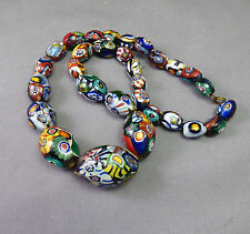 Art Deco Millefiori Glass Necklace Beads Short strand Flapper - Moretti ?