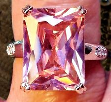 LAB. PINK SAPPHIRE RADIANT CUT 925 SOLID STERLING SILVER RING - Size N / 7
