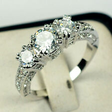 Jewellry Wedding Ring Size 5-10 White Sapphire Lady's 10K White Gold Filled Gift