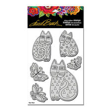 LAUREL BURCH RUBBER STAMPS CLING INDIGO CATS + STENCIL NEW STAMP SET