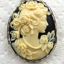 Rose Grecian Goddess Cameo Pendant .925 Sterling Silver Jewelry Cream Resin