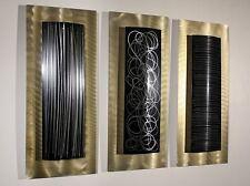 Contemporary Abstract Metal Wall Art Home Decor - Golden Trifecta by Jon Allen