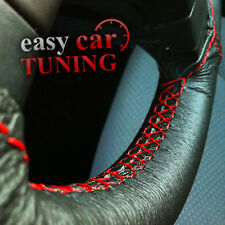 FOR BMW E46 3 SERIES 98-06 BLACK GENUINE LEATHER STEERING WHEEL COVER RED STITCH