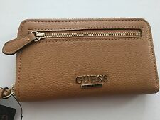 GUESS Womens Cognac Genevia Zip Around Leather Wallet Style: 16GF-493 SALE