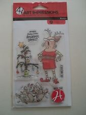 HAMPTON ART ART IMPRESSIONS CLEAR STAMP SET LADY IN ANTLERS SC0715 BNIP *LOOK*