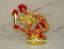 Feng Shui - Bejeweled Red Dragon With Flaming Sword