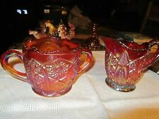 Red Amberina Style Color Carnival Glass Creamer & Sugar pair - LUD