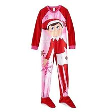 Girl's ELF ON THE SHELF Sz 8 FOOTED PAJAMAS Blanket Sleeper Pjs HOLIDAY  ~ NWT