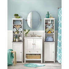 Corner Linen Closet bathroom Tower wood cabinet white Furniture two door shelves