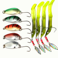 9pcs Metal Spoon Spinner Bait Soft Fishing Lures Jig Heads Assorted Fish Tackle