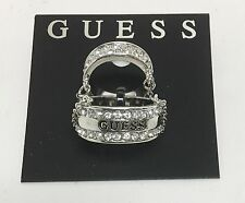 NEW GUESS 2 PIECE SILVER TONE WITH CHAIN LINK,CRYSTAL DOUBLE RING,SIZE 8 & 5
