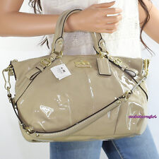 NWT Coach Madison Patent Leather Sophia Satchel Bag 15921 Camel Beige NEW RARE
