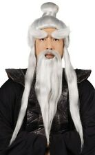 Adult Martial Arts Japanese Ninja Master Sensei Wig Beard Long Hair Costume Set