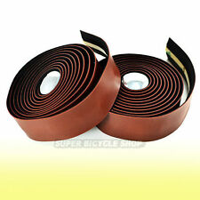 VELO Synthetic Leather Road Bike Handlebar Tape Wrap+Plugs-Brown