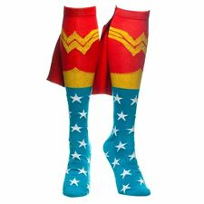 Official Wonder Woman Knee High Caped Socks - DC Comics Funky Retro