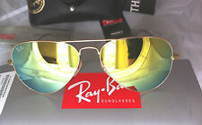 Ray Ban SUNGLASSES RB 3025 AVIATOR Gold Frame Gold Mirror Flash Lens 58mm