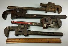 "lot 4 Pipe Wrenchs Improved Stillson 14"" Plumb 318 Trimo tool monkey vintage"