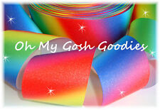 "3"" GLITTER RAINBOW OMBRE BLING GROSGRAIN RIBBON TIC TOC CHEER 4 HAIRBOW BOW"
